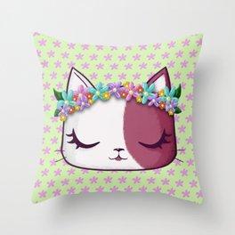 Flowers kitty Throw Pillow
