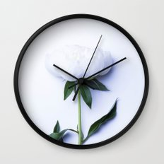White Peony - Antique Flower Wall Clock