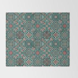 Peranakan Art Nouveau Tiles (Mixed Patterns in Peach Garden) Throw Blanket