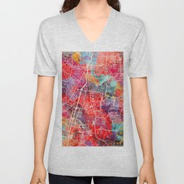 Brentwood map Tennessee TN 2 Unisex V-Neck