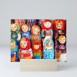Culture. Group of matrioska, or babushka, symbol of maternity from Russia. Mini Art Print