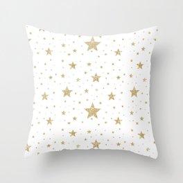gold stars pattern white Throw Pillow
