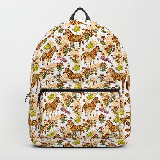 Zebras white pattern Backpack