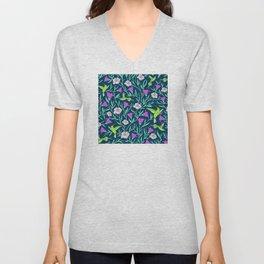 Elegant Humming Birds and Tropical Floral Print Unisex V-Neck