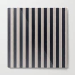Vertical Stripes Black & Warm Gray Metal Print