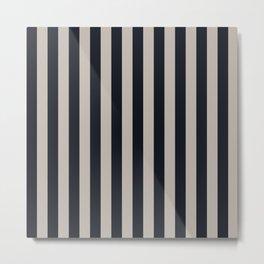 Vertical Stripes Black & Warm Gray Metal Print