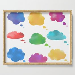 Watercolor cloud speech bubbles collection Serving Tray
