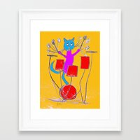 rock n roll Framed Art Prints featuring Rock n Roll Kitty by Zoe's Creatures