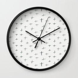 Abstract hand painted black white watercolor crosses Wall Clock