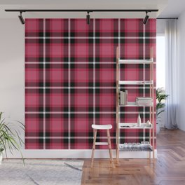 Honeysuckle pink color themed plaid SCOTTISH TARTAN Checkered Fabric Pattern background. Wall Mural