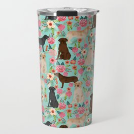 Labrador Retriever dog breed floral pattern for dog lover chocolate lab golden retriever labradors Travel Mug