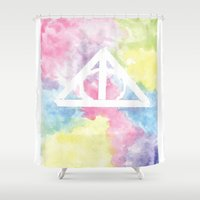 deathly hallows Shower Curtains featuring Deathly Hallows  by Mackenzie Hahn