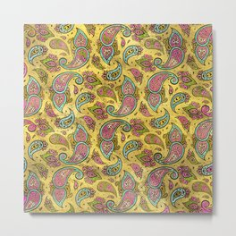 Pink and Blue Glass Paisley  on gold Metal Print