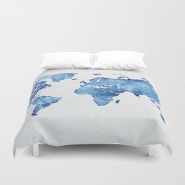 Blue World Map 03 Duvet Cover