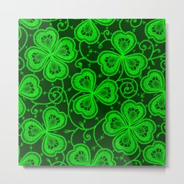 Clover Lace Pattern Metal Print
