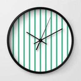 Vertical Lines (Mint/White) Wall Clock