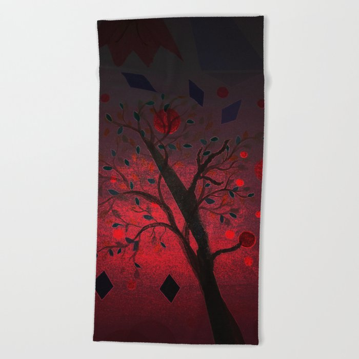Red Night Beach Towel