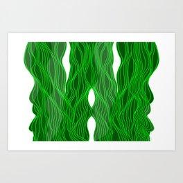 Parallel Lines No.: 03. - Green, Symmetrical Art Print