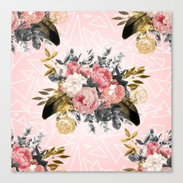Romantic vintage roses and geometric design Canvas Print