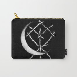 Crescent Moon Rune Binding in Black Carry-All Pouch