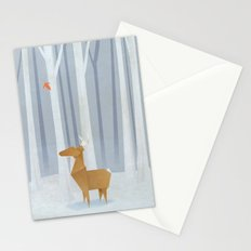 Origami deer in the Woods Stationery Cards