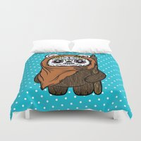 ewok Duvet Covers featuring Sugar Skull Ewok by Team Rapscallion