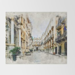 Trapani art 1 Throw Blanket
