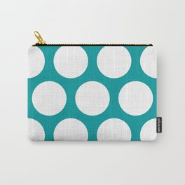 Large Polka Dots: Teal Carry-All Pouch