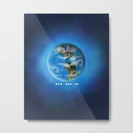 Earth RUN in Morse Code Metal Print