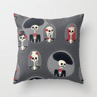 dia de los muertos Throw Pillows featuring Dia de Los Muertos by Julie's Fabrics & Thingummies