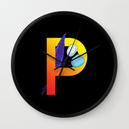 Letter P neon Wall Clock