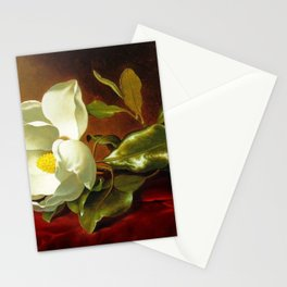 A White Magnolia on Red Velvet by Martin Johnson Head Stationery Cards