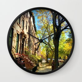 Cobble Hill Brooklyn New York in the Fall, Brownstones Wall Clock