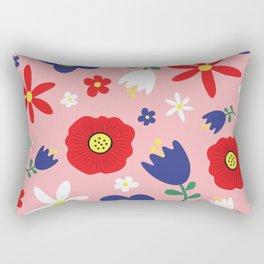 Spring Flowers Floral Pattern on Pink Rectangular Pillow