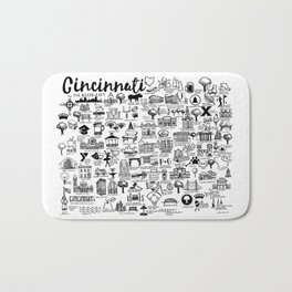 Cincinnati Ohio Map Bath Mat