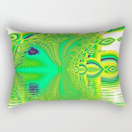 Lemon Lime Cool Summer Day, Fractal Dreams in Green Rectangular Pillow