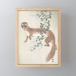Weasel and the flowers - Vintage Japanese Woodblock Print Art Framed Mini Art Print