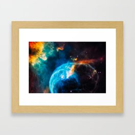 Bubble Nebula, Galaxy Background, Universe Large Print, Space Wall Art Decor, Deep Space Poster Framed Art Print