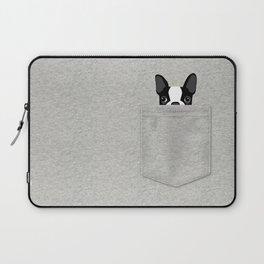 Pocket Boston Terrier - Black Laptop Sleeve