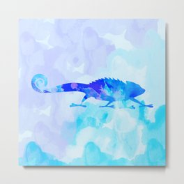 Abstract Chameleon Reptile Metal Print