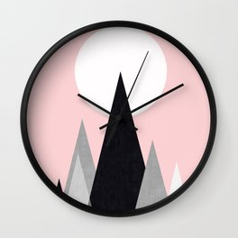 Minimalist mountains and pink Wall Clock