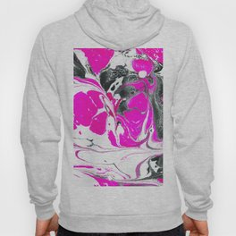 Abstract Neon Pink Black Cute Watercolor Swirls Hoody