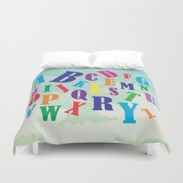 Alphabet art , nursery decor , children gift, birthday gift Duvet Cover
