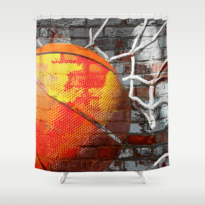 Basketball art swoosh vs 13 Shower Curtain