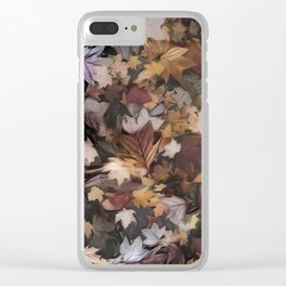 Painted Leaves Clear iPhone Case