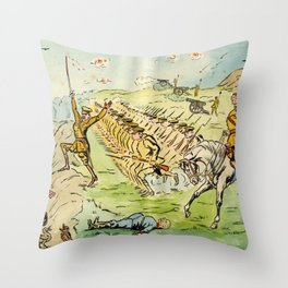 Vintage First World War Art - JM's Sketchbook - Battle in Flanders, as Pictured by the Daily Papers Throw Pillow