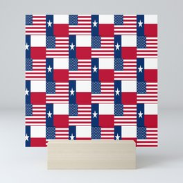 Mix of flag : Usa and Texas Mini Art Print