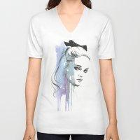 sky ferreira V-neck T-shirts featuring Sky Ferreira by Cora-Tiana
