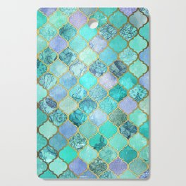 Cool Jade & Icy Mint Decorative Moroccan Tile Pattern Cutting Board