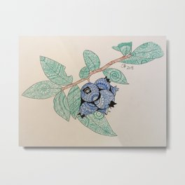 Blueberry zentangle Metal Print